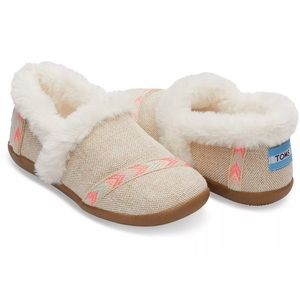 New!! TOMS Youth Natural Metallic Burlap Slippers